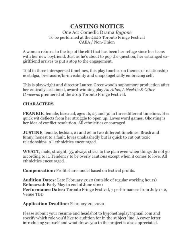 Casting Notice - Bygone